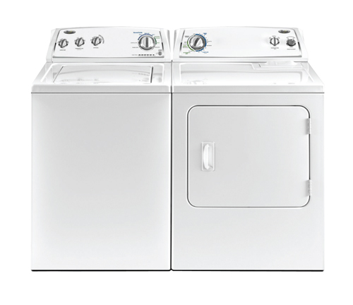 whirlpool 3 cu ft top load washer and 7 cu ft front load dryer